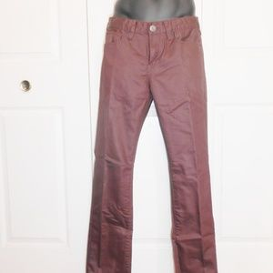 Men Guess burgundy fake leather slim jeans 31x32